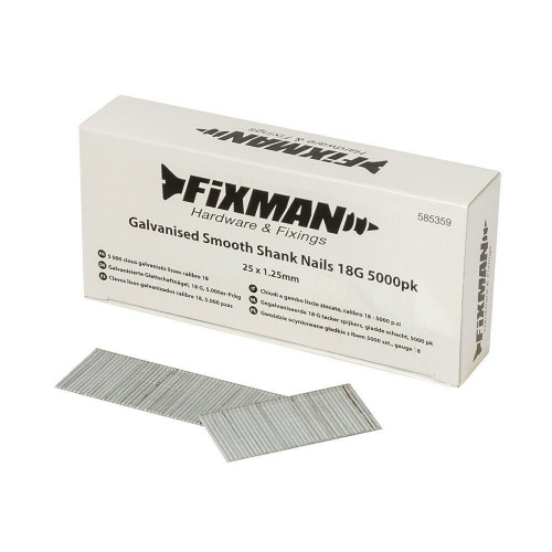 Fixman 585359 Galvanised Smooth Shank Brad Nails 18G 5000 Pack 25mm